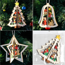 3D Xmas Tree Pendants Hanging Wooden Christmas Decoration Home Party Decor  - $7.30