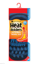 Mens Original Heat Holders Navy/Royal Stripe Slipper Socks 6-11 39-45 Eur - $17.98