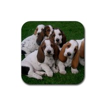 Cute Sweet Basset Hound Puppy Puppies Dogs Pet Animal (Square) Rubber Co... - $2.99