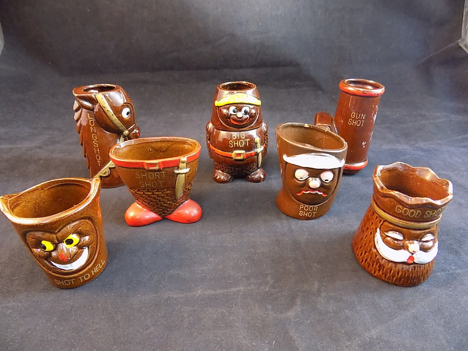 Vintage MID CENTURY SHOT GLASS SET JAPANESE POTTERY KITCH HUMOROUS Shot Glasses