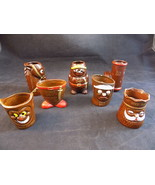 Vintage MID CENTURY SHOT GLASS SET JAPANESE POTTERY KITCH HUMOROUS Shot ... - $34.64