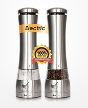 Premium Quality Electric Stainless Steel Salt & Pepper Spice Grinder Set... - $86.02