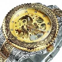WINNER Gold Skeleton Mens Mechanical Watch Automatic Vintage Royal Fashion - $29.99