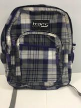Jansport Trans Supermax Backpack Purple Gray Plaid School Bag - $10.45