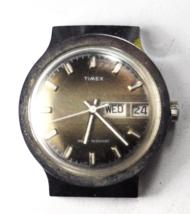 Vintage Timex Day Date Hooded Lugs 36mm Wristwatch 26951 10678 Woodgrain... - $29.69
