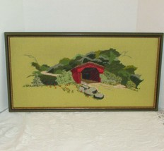 """VINTAGE HAND STITCHED FRAMED PICTURE 1974 COVERED BRIDGE 25"""" LONG x 13 1... - £20.39 GBP"""