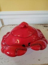 SONOMA CERAMIC RED CRAB COOKIE JAR  NANTUCKET COLLECTION (RARE) BEACH DECOR - $29.03