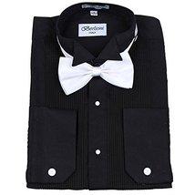 Berlioni Italy Men's Tuxedo Dress Shirt Wingtip & Laydown Collar With Bow-Tie (3