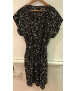 Mossimo Dress Size L Fit Flare Short Sleeves Black Tan Stretch Waist Car... - $15.95