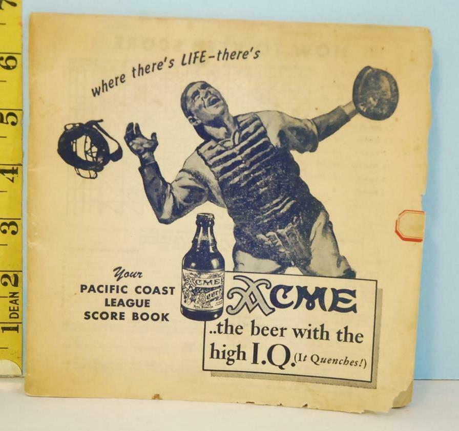 Primary image for 1944 ACME BEER Baseball Pacific Coast League Scorebook Fred Haney Minor Leagues