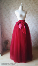 Adult Long Red Tulle Skirt 4-Layered Floor Length Tulle Skirt Plus Size image 6