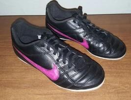 Nike Girls Black/Pink Tiempo Rio Soccer Cleats Shoes Size 13 C zapatilla futbol - $14.93