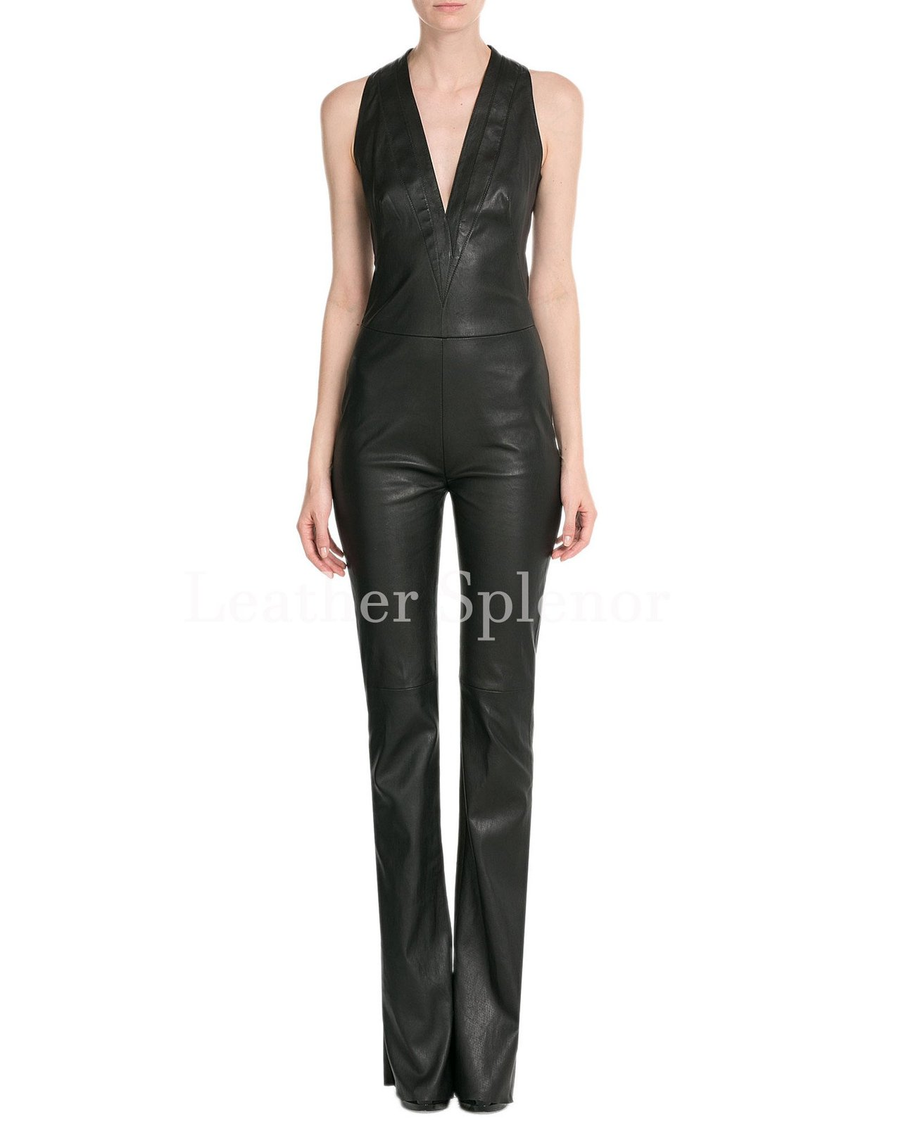 Deep V Neck Women Leather Jumpsuit