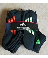 NEW Adidas 6 Pairs Youth Cushioned Low Cut Socks MD Shoe 13C-4Y Green Bl... - $21.78