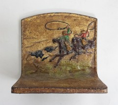 antique CAST IRON COWBOY BOOKEND lasso cattle single #106 old book end - $42.50