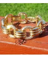 Vintage Gold Plated Rhinestone Crystal Link Bracelet Signed JC Thailand - $25.00