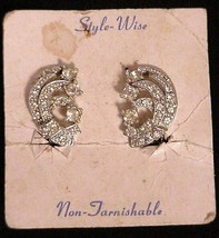 Style-Wise Rhinestone Clip-on Earrings NOS - $19.95