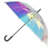 CTM Women's Iridescent Stick Umbrella with Hook Handle, Iridescent - $40.51