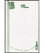 Vintage menu 7UP The Fresh Up Family Drink slogan bubble girl bottle n-m... - $8.09