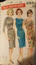 Vintage 1960's Butterick's Women's MISSES' Dress Pattern Size 14 #2952 - $17.82