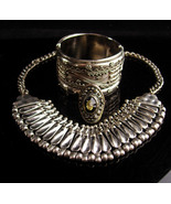 Tribal Necklace set / Hippie style -gothic ring -  indian design - silve... - $245.00