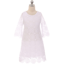 White Long Sleeve Thick Floral Design Lace with Pearl Button Closure Gir... - $37.95