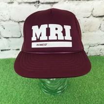 Vintage MRI US West Mens Snapback Hat Maroon Meshback Trucker Yupoong Ba... - $29.69