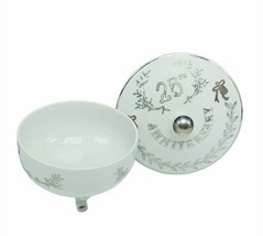 Lefton 25th anniversary porcelain japan gold Christmas nut candy bowl di... - $23.93
