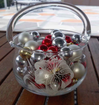 Lot 80 Christmas Mini Mercury Glass Ornaments Red Gold + Clear Glass Basket - $14.84
