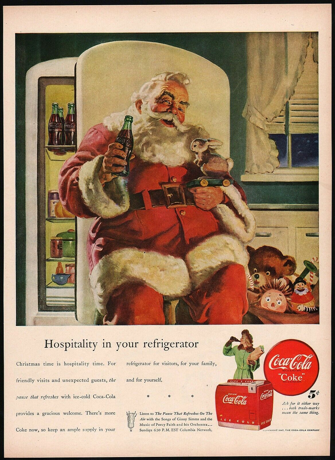 Primary image for Vintage magazine ad COCA COLA from 1947 Santa Claus pic Haddon Sundblom artwork