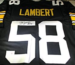 JACK LAMBERT / NFL H.O.F. / HAND SIGNED PITTSBURGH STEELERS CUSTOM JERSEY / COA