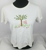 Talbots Petites Womens Knit Top Sz S Sm White Sequins Green Tree Pink Mu... - $13.49