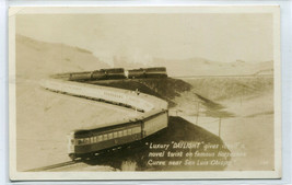 SP Railroad Train Daylight Horseshoe Curve San Luis Obispo CA RPPC postcard - $7.43