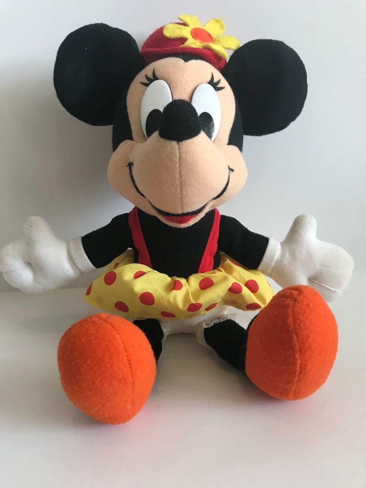 Mattel Arcotoys Minnie Mouse Yellow Red Polka Dot Flower Hat Plush Stuffed Doll image 2