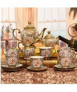 Gold Flower Bone China Ceramic Teaset Coffee Tea Cup Set Wedding Gifts - $445.70