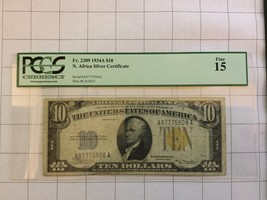 1934A North Africa Silver Certificate $10 Dollar Bank Note PCGS Fine 15 - $45.00
