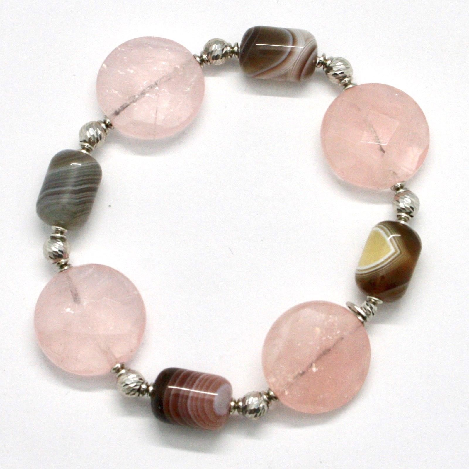 Bracelet in Sterling Silver 925 Laminate Rose Gold with Rose Quartz and Chalc...