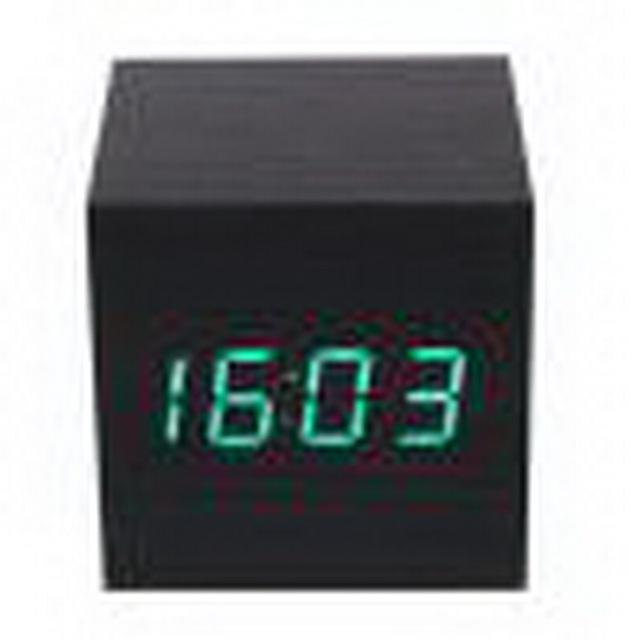 Square Wooden LED Alarm Thermometer Date Vioce Touch Activated Clock