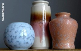 3xVintage 60-70's SCHEURICH+VEB GRAFENRODA+WEST GERMAN Vase/s Set Fat La... - $19.79