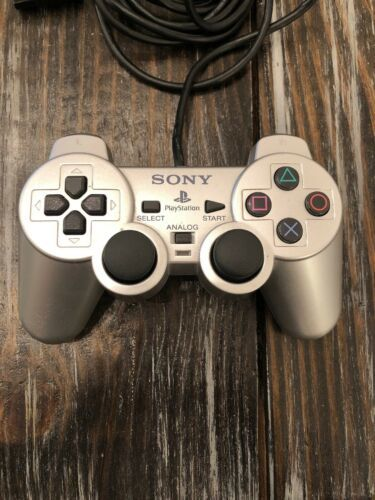 Sony Playstation 1 Original Wired Silver Analog Dual Shock 2 Controller Tested!