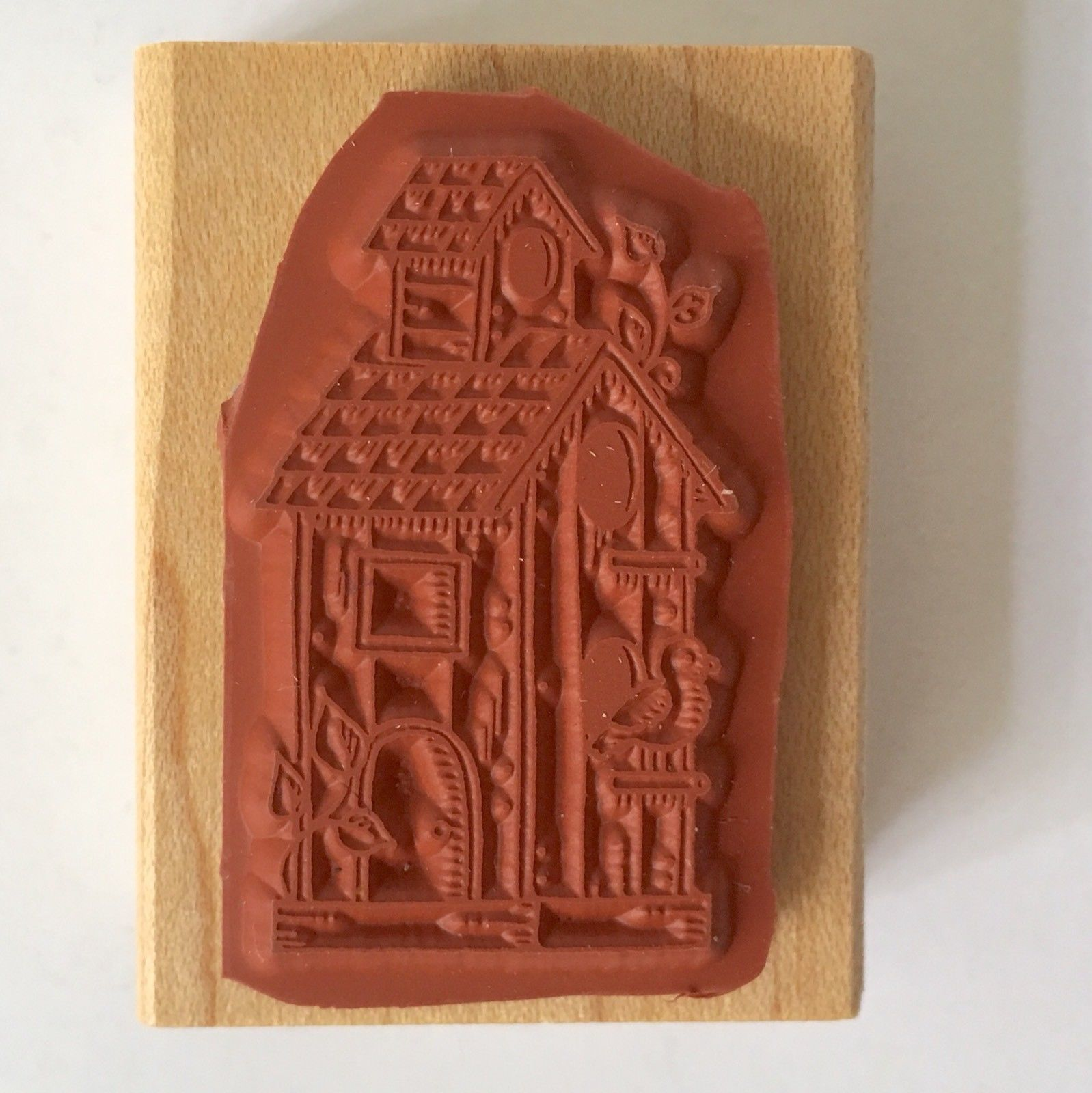 Birdhouse Rubber Stamp Stampin Up Mini Bird House Home Wood Mounted Craft 1996