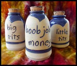 3 Boob Job Fund Funny Money Bank, Ceramic Jar, Money Jar, Coin Bank - $40.00
