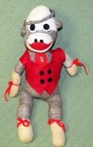 "Vintage Sock Monkey Hand Made Crafted Red Felt Vest 17"" Long 1960s CURLE... - $37.36"
