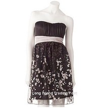 Black Glittery Chiffon Strapless Cocktail Party Dress Prom Wedding Semi-Formal 9 - $26.57