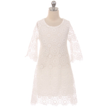 Ivory Long Sleeve Thick Floral Design Lace with Pearl Button Closure Girl Dress - $37.95