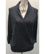 Ann Taylor Black Gray XL Sweater Cowl Open Long Sleeve Women Open - $22.08