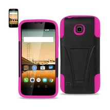 REIKO HUAWEI UNION HYBRID HEAVY DUTY CASE WITH KICKSTAND IN HOT PINK BLACK - $8.36