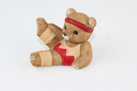 Vintage HOMCO Teddy Bear Figurine Aerobics Exercise Orange Leg Warmers 1448 - $6.89