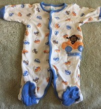 Child Of Mine Boys White Blue Orange Monkey Cars Long Sleeve Pajamas Newborn - $5.00
