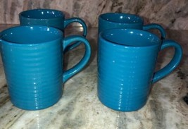 Royal Norfolk Lt Blue Stoneware Coffee Mugs Dinnerware Cups-Set Of 4-RARE-SHIP24 - $49.38